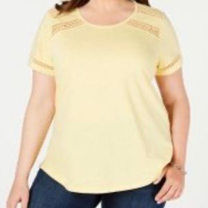 NWT Charter Club Yellow Short Sleeve Shirt Size 2X